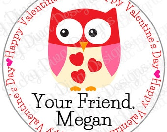 PERSONALIZED VALENTINE STICKERS - Sweet Owl Design - Round Gloss Sticker Labels