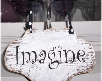 Imagine Shabby Chic Cottage White Wood Sign Custom