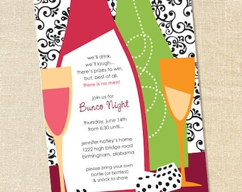 Sweet Wishes Girls Night Out Bunco Casino Party Invitations - PRINTED - Digital File Also Available