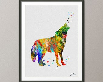 Wolf Print Wolf poster watercolor animal art illustration Wolf poster wall decor wall hanging art decor Wolf poster gift A063