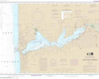 Lake Michigan map - Holland Harbor & Lake Macatawa 1915