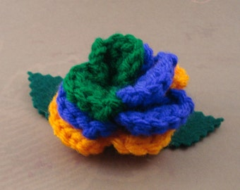 Crocheted Rose Lapel Pin - Villain (SWG-PL-VIJK01)