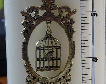Antique style bird cage pendant