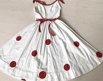 Pretty 1950s Pat Premo polka dot cotton pique dress XS
