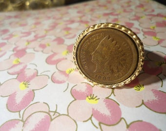 1 Goldplated Indian Head Penny Ring