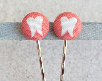 Wisdom Tooth, Fabric Covered Button Bobby Pin Pair