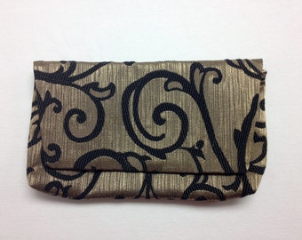 The Starry Night: Black and Gold Swirl Brocade Clutch Purse