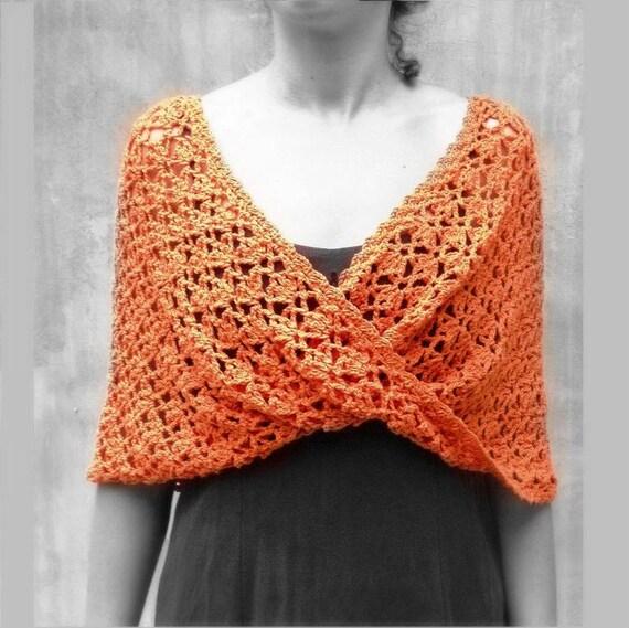Orange häkeln rustikalen Schal Spitze Unendlichkeit Schal