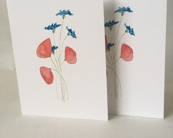 Cornflower and Poppies Cards