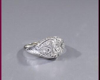Art Deco Engagement Ring Antique Engagement Ring with Old European Cut Diamond Platinum/18k White Gold Wedding Ring - ER 647M