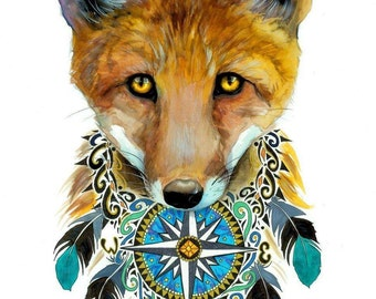 Nature spirit fox- signed Art Print