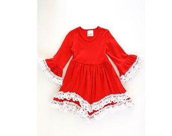 Red Lace Dress, Girls red dress, Girls lace dress, Red & Lace, 4th of July dresses for children