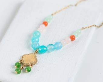 Blue Agate Gemstone Necklace, Blue Gemstone Necklace, Agate Necklace, Boho Style Necklace, Dainty Gemstone Necklace, Blue Gemstone