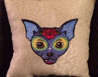 Embroidered Sugar Skull Chihuahua accent pillow 10x10. Original artwork