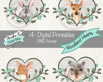 We Are 3 Digital Printables, Pre-Colored, Woodland Hearts, Animals