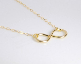 Infinity Necklace Gold Necklace Infinity Jewelry Bridesmaid Gift Bridesmaid Necklace Mothers Necklace Infinity Pendant Wedding Jewelry