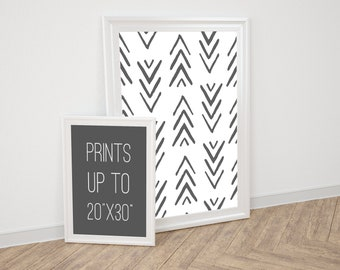Arrow Pattern Art, Best Selling Print, 20x30, Pine Trees, Woods, Hand Drawn Wall Art, Black and White, Printable Art, Poster Size Print,