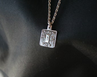 Tribal Man Jumping for Love -- Sterling Silver Pendant