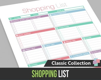 Shopping List with Categories - Instant Download! PDF format ready to print at home!