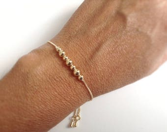 Bolo bracelet gold toggle slide chain Gold balls bracelet, Beaded bracelet, Everyday bracelet, Stackable adjustable ball bracelet ball chain