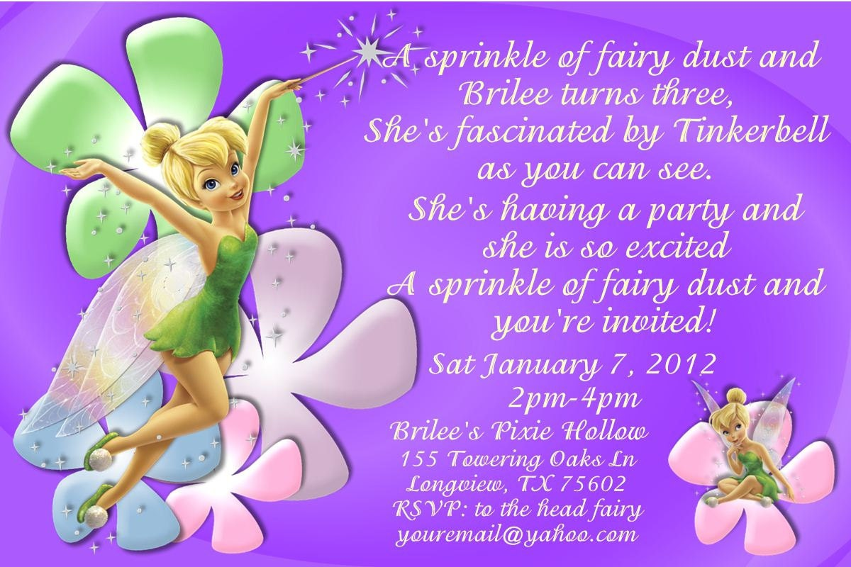 Tinkerbell Birthday Invitation OR Thank you card-DIGITAL