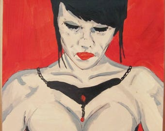 "female nude acrylic painting ""red and black signed G.Vanspey drawing"