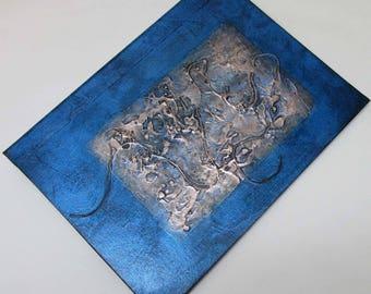 Handmade Journal Refillable Blue bronze texture patch 12x9 Original traveller notebook fauxdori
