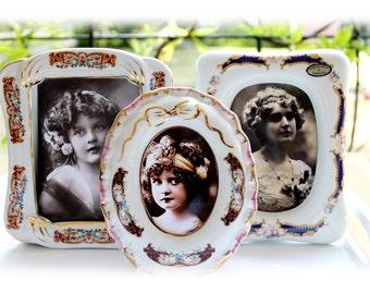 Marcos de Limoges Vintage foto marcos porcelana Vintge fotos Decoración Floral francesa Vintage Cottage estilo Shabby Chic caballete para ella