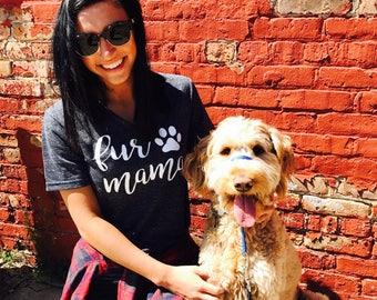 Unisex Tri-Blend V-Neck T-Shirt Fur Mama Cursive Text - Dog Mom Shirt - Dog Mama - Dog Shirt -
