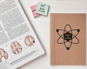 I believe in Science notebook || Sketchbook, Blank journal, blank notebook, craft notebook, Craft Paper, gift