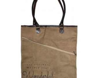 And I Think to Myself, What a Wonderful World Asymmetrical Zippered Tote Bag Purse Recycled Military Canvas