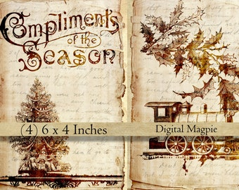Victorian Christmas digital collage sheet shabby vintage sepia images on old paper for instant download scrapbook craft paper