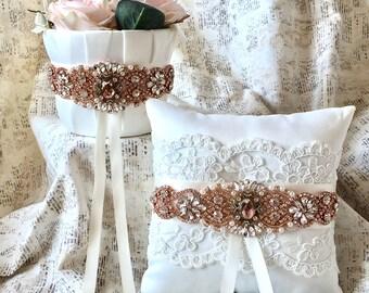 Blush flower girl basket, rose gold flower girl basket, flower girl basket blush, flower girl basket rose gold, flower girl basket vintage