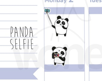 Boo The Panda - Selfie Planner Stickers, Cute panda with camera Planner Stickers