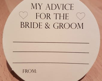 Wedding Advice Coasters Bride and Groom Advice on Cream Card KP001 BL/CR