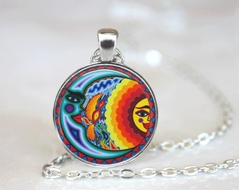 GlassTile Necklace Sun and Moon Necklace Glass Tile Jewelry Celestial Jewelry Sun Jewelry Moon Jewelry Mayan Jewelry Celestial Necklace