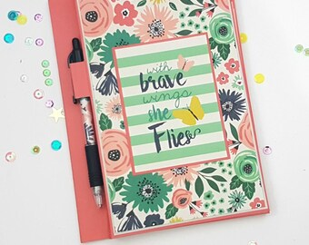 Handmade Notebook // Legal Pad Cover // Just Be You by Echo Park // with brave wings she flies