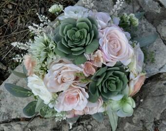 Blush & Sage Succulent Bouquet
