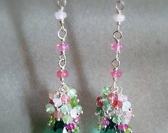 25% Off Sale Afghan Watermelon Tourmaline Green Amethyst Prasiolite Gemstone Cluster Earrings Long Drop Earrings Gift for Her