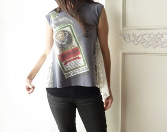 Jagermeister tshirt, lace side insets, size XS, gray, OOAK, cap sleeve tshirt, tent top, summer top, athleisure wear, upcycled, logo tshirt