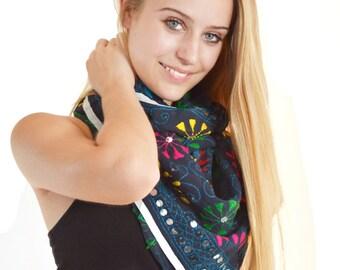 embroidered blue scarf, blue neck scarf, small silk scarves, neck scarf, bandana, indian scarf, boho bohemian hippie tribal scarves