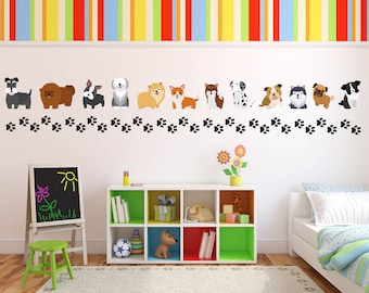 Dog Theme Wall Decals, Pet Wall Decals, Dog Wall Decals, Dog Theme Kids Room, Dog Stickers, Dog Wall Stickers, Dog Theme Kids Room
