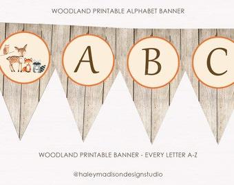 Woodland Banner, Alphabet Banner, Woodland Happy Birthday Banner, Woodland Baby shower banenr DIGITLA FILES HM111