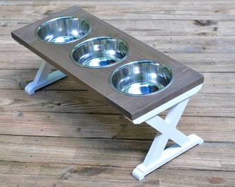 Large - 3 Bowl - Dog Bowl Stand - Raised Dog Feeder - Elevated Dog Feeder - Dog Bowl Holder - Dog Feeder - Dog Food Stand - Labrador