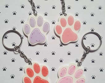 Glitter pawprint keyring, Pawprint keyring, Animal keyring, Pawprint pendant, Glitter, Animal, Pawprint, Animals, Animal lover gift