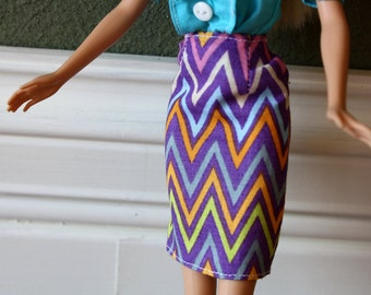"""Purple Pencil Skirt with Multi Colored Chevron Pattern for 11.5"""" Fashion Doll [Skirt Only]"""
