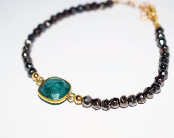 Pyrite and GREEN Emerald Bracelet