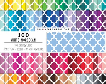 100 Moroccan Pattern Digital Paper Digital Paper Commercial use rainbow digital paper planner paper digital moroccan pattern cute clipart