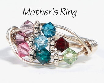 8 Birthstone Grandmother's/Mother's Ring: Personalized Sterling Silver multistone Family. Eight Stone Swarovski Crystals.Christmas, birthday