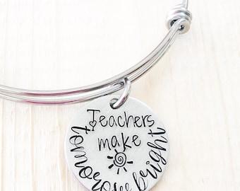 Teacher gift -Teacher's bracelet - Hand stamped bracelet for teacher - Personalized teacher gift - Gift for teacher's assistant - Gift idea